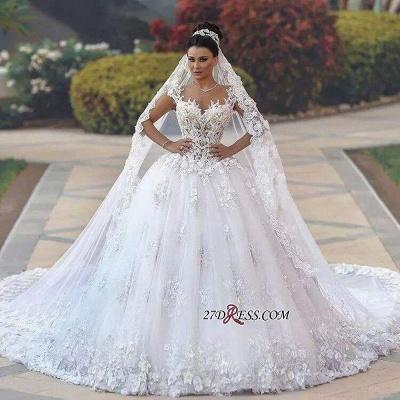 Princess Sleeveless Appliques Lace Luxurious Wedding Dress_3