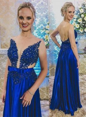 Newest Royal Blue Lace Appliques Prom Dress UK | Backless Prom Dress UK_1