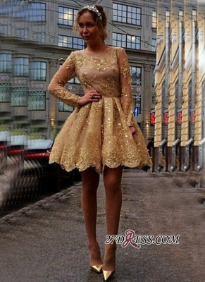 Sheer Gold Luxury Long-Sleeves Appliques Short Homecoming Dress UKes UK_3