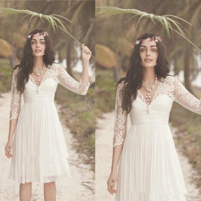 Elegant Long Sleeve Short Wedding Dress Summer  Hot_4
