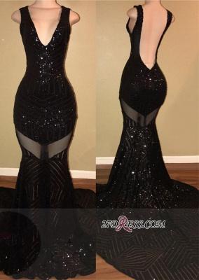Mermaid Backless V-neck Sleeveless Elegant Black Sequined Prom Dress UK sp0292_3