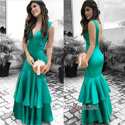 Elegant Open Back Ruffles Prom Dress UK | Sleeveless Green Evening Dress UKes UK_2