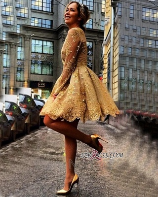 Sheer Gold Luxury Long-Sleeves Appliques Short Homecoming Dress UKes UK_4