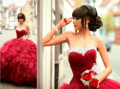 Gorgeous Sweetheart Red Prom Dress UK Ball Gown Crystal Sweet Sixteen Dress UK_3