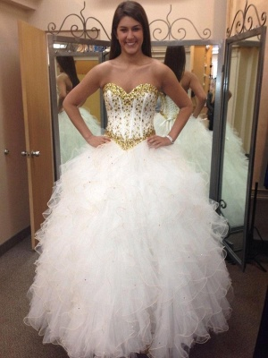 Fabulous Sweetheart Golden Crystal Wedding Dress Tulle Princess Bridal Gowns_2