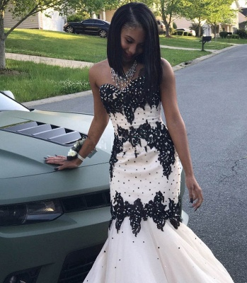 Black Lace Prom Dress UK   Mermaid Evening Gowns With Beadings_3