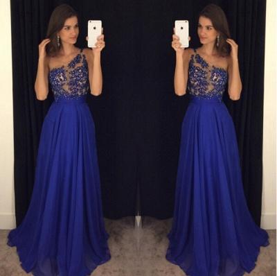 Sexy Royal Blur One Shoulder Prom Dress UKes UK Long Chiffon Appliques AP0_3