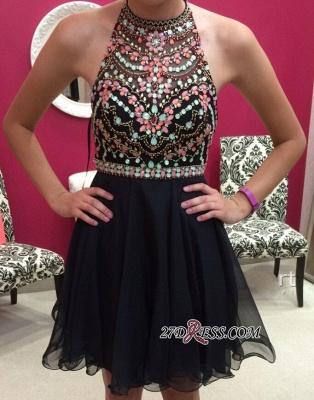 Short Newest Sleeveless Colorful-Crystals Halter Homecoming Dress UK_2