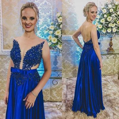 Newest Royal Blue Lace Appliques Prom Dress UK | Backless Prom Dress UK_3