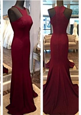 Sexy Sleeveless Burgundy prom Dress UKes UK Mermaid Floor Length Zipper Back_1