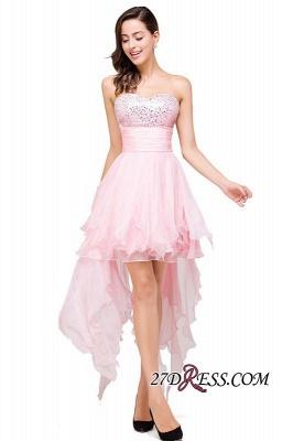 Chiffon A-Line Ruffles Crystal Sweetheart Mini Homecoming Dress UK_5