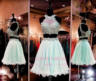 Halter Two-Pieces Sleeveless Short Popular Appliques Homecoming Dress UK_1