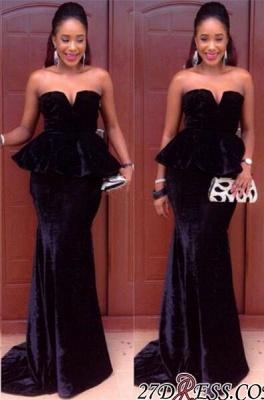 Simple Velvet Mermaid Black Floor-Length Sweetheart Prom Dress UK_2