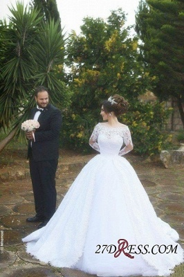 Tulle Lace Jeewl Long-Sleeves Ball-Gown Arabic White Wedding Dress_5