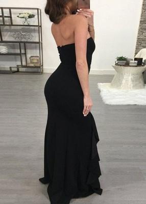 Elegant Black Mermaid Evening Dress UK | Ruffles Prom Dress UK With Slit_5