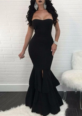 Elegant Black Mermaid Evening Dress UK | Ruffles Prom Dress UK With Slit_1