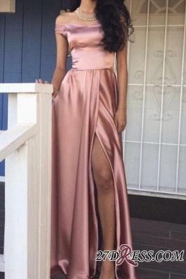 Off-the-Shoulder Front-Slit Rose Pink Shiny A-line Prom Dress UKes UK LY159_1