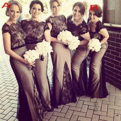 Newest Lace Mermaid Bridesmaid Dress UK Cap Sleeve Floor-length_3