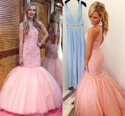 Fabulous Sleeveless Pink Prom Dress UK Mermaid Tulle Floor Length BK0_3