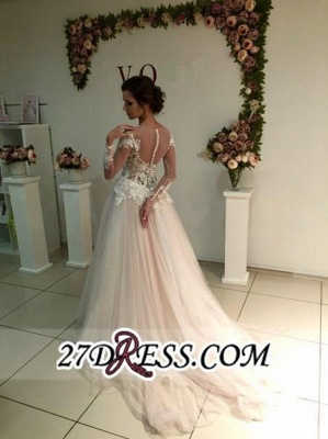 Delicate Lace A-line Appliques Tulle Sweep-Train Long-Sleeve Bridal Dress_1