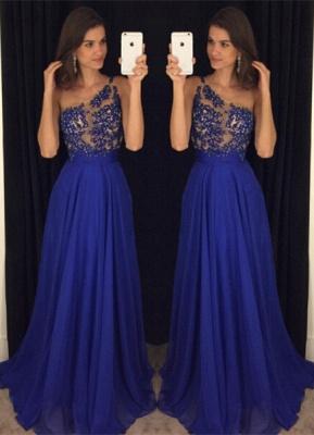 Sexy Royal Blur One Shoulder Prom Dress UKes UK Long Chiffon Appliques AP0_1