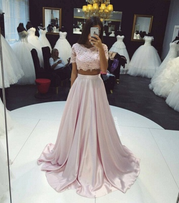Beautiful Two Pieces Short Sleeve Prom Dress UKes UK Lace A-Line Party Gown_3