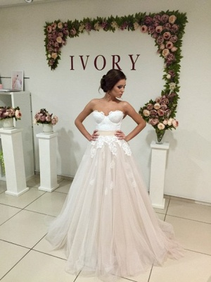 Elegant Sweetheart Tulle Wedding Dress Lace Appliques Lace-up_1