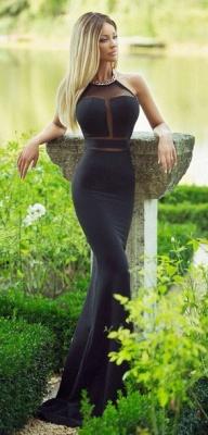 Modern Halter Mermaid Black Prom Dress UK Sleeveless With Beadings_1