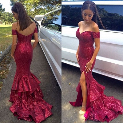 Gorgeous Sequined Mermaid Ruffles Prom Dress UK Front Split Off-the-shoulder_2