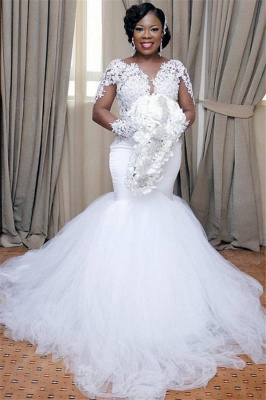 Elegant  Sexy Mermaid Tulle Cheap Lace Wedding Dresses UK | Long Sleeves Bridal Gowns_1