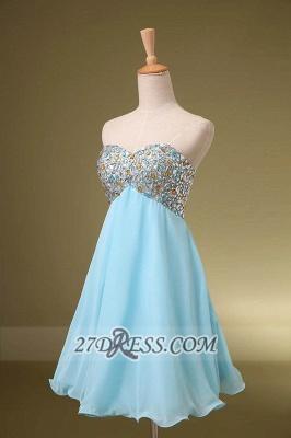 Elegant Sweetheart Sleeveless Short Homecoming Dress UK Colorful Beadings Lace-up Chiffon Cocktail Gown_2