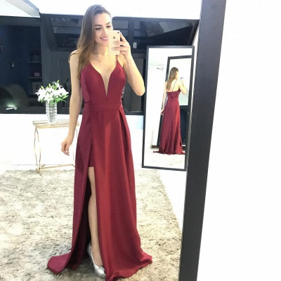 Sexy Spaghetti Straps Split Prom Dress UK Long Party Gown On Sale_2