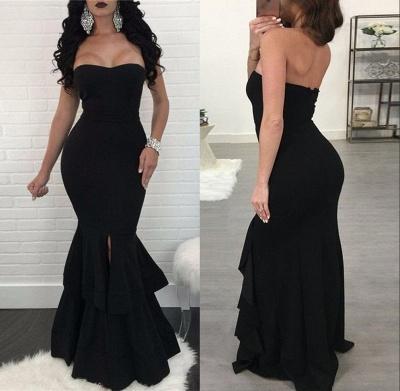 Elegant Black Mermaid Evening Dress UK | Ruffles Prom Dress UK With Slit_6