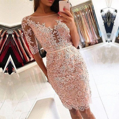 Sexy Half-Sleeve 2019 Homecoming Dress UK   Short Party Dress UK With Lace Appliques_3