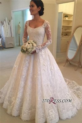Elegant Puffy Lace Buttons Squared Long-Sleeve Court-Train Wedding Dress_2