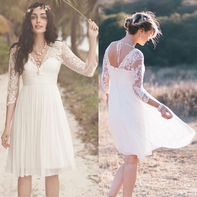 Elegant Long Sleeve Short Wedding Dress Summer  Hot_3