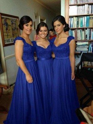 Sexy Silver Bridesmaid Dresses Lace Sequins Beads Cap Sleeves V-Neck Chiffon Bridesmaid Dress_4