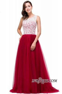 Tulle Sexy Red Sleeveless Floor-Length A-Line Prom Dress UK_3