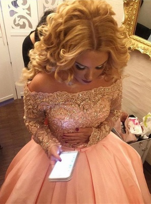Ball-Gown Off-the-Shoulder Gold-Lace Bowknot Long-Sleeves Prom Dress UKes UK ly160_4