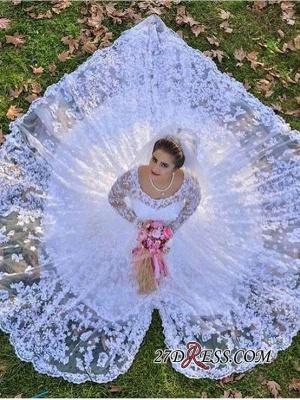 Luxurious Long-Sleeve A-line Lace White Wedding Dresses UK_2