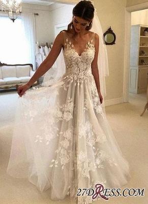 V-Neck Princess Wedding Dresses UK | Bridal Gowns With Appliques_3