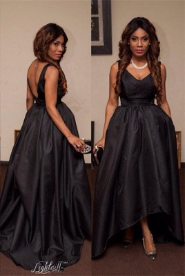 Elegant Black V-Neck Sleeveless Prom Dress UKes UK Hi-Lo Tail Party gown_1