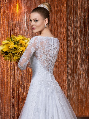 Elegant Illusion Tulle Lace Appliques Wedding Dress Zipper Button Back_2