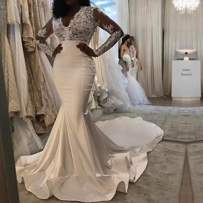 Long sleeve lace wedding dress, Sexy Mermaid bridal gowns BA8204_3