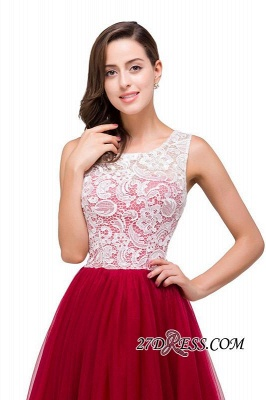Tulle Sexy Red Sleeveless Floor-Length A-Line Prom Dress UK_4