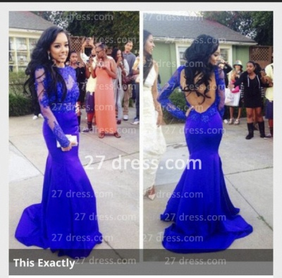 Lace Mermaid Long Sleeves Prom Dress UKes UK Royal Blue Open Back Floor Length Evening Gowns_2