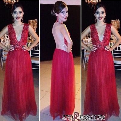 New-Arrival Tulle Appliques V-Neck Red Floor-length Evening Dress UK_2