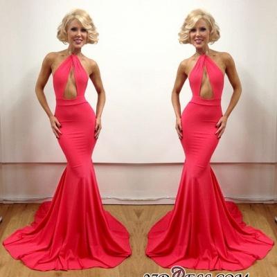 Floor-Length Peach Sleeveless Elegant Open-Back Mermaid Evening Gowns_1