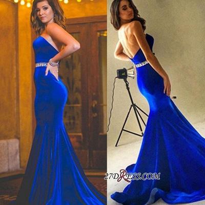 Velvet Backless Royal-Blue Mermaid Charming Crystals-Sash Sweetheart Prom Dress UK BA7608_1