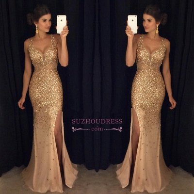 Sleeveless Front-Split Luxury Long Straps Mermaid Crystals Prom Dress UK AP0 sp0229_1